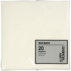Servietter, stoflign, 40×40 cm, hvid, 20 stk. | Kreahobshop