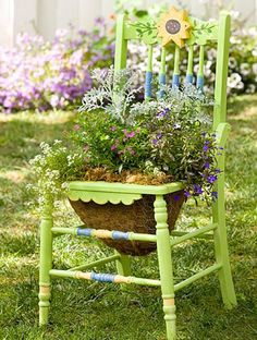 Restored old chair planter. My chair is blue. Garden Chairs, Garden Planters, Garden Bed, Balcony Garden, Corner Garden, Garden Path, Green Garden, Easy Garden, Chair Planter