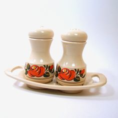 Plastic Salt and Pepper Set with Tray, Emsa, West Germany, Beige with Orange and Gold Flowers on Etsy, $12.50