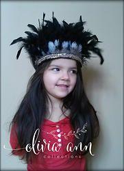Black feather Glam Headdress/Headband