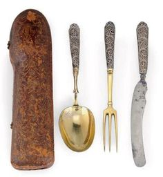 A GERMAN PARCEL-GILT SILVER TRAVELLING KNIFE, FORK & SPOON, Augsburg, circa 1720