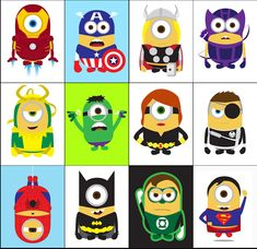 """Minions from """"Despicable Me"""" as Superheroes."""