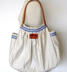 Sophie. XL French Linen Bag blue striped Beach Bag por Ecolution