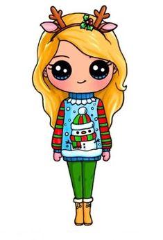 18 Trendy Ideas For Drawing Christmas Kawaii Kawaii Girl Drawings, Cute Girl Drawing, Disney Drawings, Cartoon Drawings, Easy Drawings, Kawaii Disney, Arte Do Kawaii, Kawaii Art, Cute Kawaii Girl