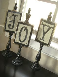 Whitney's Christmas JOY Plaques - cool and easy idea.  I think this might work nicely for necklace displays as well (minus the letters and with a few changes).