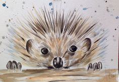 ORIGINAL Watercolour Painting of a Hedgehog by French Artist A.Jolivet