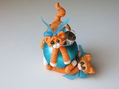 Polymer Clay Cats Christmas Ornament Orange by HeartOfClayGirl Looks like my kitty.