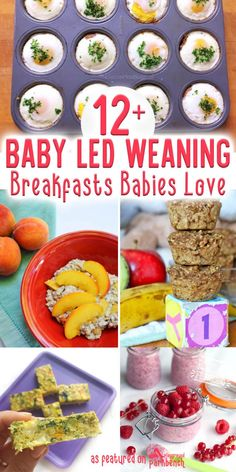 12 Baby Led Weaning Breakfasts Your Baby Will Love Start your baby on solid foods with real food! Here are 12 baby led weaning breakfast ideas to get you started Baby Led Weaning Breakfast, Baby Breakfast, Blw Breakfast Ideas, Baby Solid Food, Baby Food By Age, 9 Month Old Baby Food, Baby Muffins, Baby Pancakes, Fingerfood Baby
