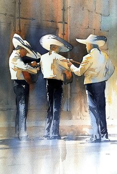 Charros by Thomas W. Schaller Watercolor ~ 22 inches x 15 inches