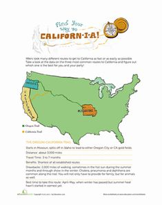 Fourth Grade History Worksheets: Gold Rush Trail