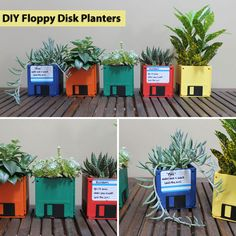 Turn your old floppy disks into colorful desktop planters! DIY here: http://www.brit.co/tech/diy-floppy-disk-planters/