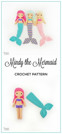 These are so cute! They even have a removable tail. CROCHET PATTERN in English - Mindy the Mermaid Doll - Amigurumi Doll Crochet Toy - Instant PDF Download #crochetpattern #mermaid #amigurumi #affiliate #crochet