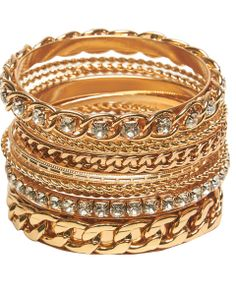Mix and match this set of 14 different bangle bracelets featuring  different metals and studded, textured designs, and chunky links.      Metal / Man Made Materials     Imported