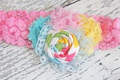 Easter Delight rosette and chiffon flower by babybirdieboutique, $16.50
