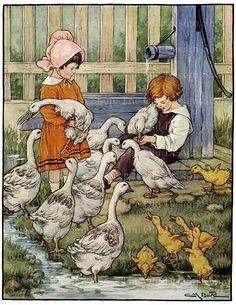 Children Feeding Geese Digital Download Clara Burd Storybook Farm Animal Illustration JPG Image