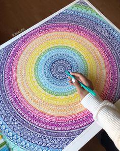 Rainbow hand drawing mandala original artwork home decor | Etsy Mandala Book, Mandala Art Lesson, Mandala Artwork, Doodle Art Drawing, Mandala Drawing, Cool Art Drawings, Watercolor Mandala, Drawing Ideas, Watercolor Art