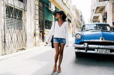 Blue vintage car on city street // Olivia Lopez Lust for Life travel