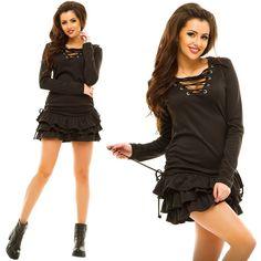 Stylish ladies black french jersey shift midi dress #shift #dress