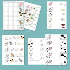 Letölthető állatos feladatlapok óvodásoknak. Printable Worksheets, Printables, Pre School, Map, Crocheting, Farm Gate, Crochet, Print Templates, Location Map