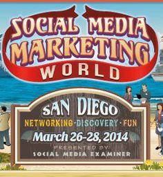 Social Media Marketing World 2014 is the world's largest social media marketing conference. By attending, you'll make connections with 60+ of the world's top social media pros (plus 2000 of your peers) and you'll discover amazing ideas that'll transform your social media marketing. The event takes place in San Diego, California on March 26, 27 and 28, 2014.