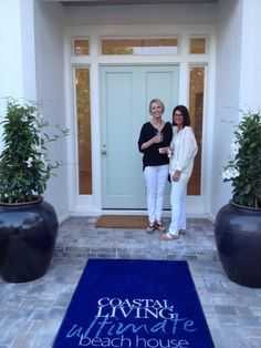Janet and Erica at the entrance to the Coastal Living Ultimate Beach House. Seaside Home Decor, Seaside Style, Coastal Style, Coastal Living, Seaside Florida, Florida Style, Seaside Beach, White Cotton Curtains, Rope Hammock