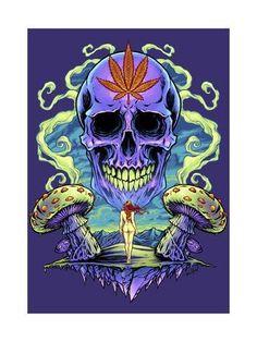 Trippy Wallpaper, Skull Wallpaper, Marijuana Art, Sugar Skull Art, Hippie Art, Psychedelic Art, Dark Art, Find Art, Giclee Print