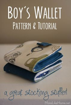 Boy's Wallet Tutorial {perfect stocking stuffer!} Boy's Wallet Tutorial {perfect stocking stuffer!},Sewing More Like Home: Boy's Wallet Tutorial {perfect stocking stuffer! Sew Wallet, Fabric Wallet, Wallet Sewing Pattern, Sewing Patterns Free, Tote Pattern, Purse Patterns, Sewing Projects For Beginners, Sewing Tutorials, Sewing Tips