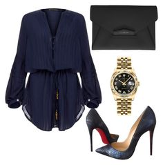 """Untitled #183"" by lillylilit on Polyvore featuring ViX, Christian Louboutin, Givenchy, Rolex, women's clothing, women, female, woman, misses and juniors"