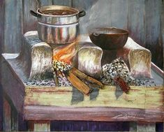 fogones de leña en dibujo - Buscar con Google Miniature Calendar, Outdoor Oven, Still Life Oil Painting, Traditional Furniture, Culinary Arts, Projects To Try, Miniatures, Concept, Landscape