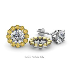 These Pleasant Jackets have 24 Round Yellow Sapphire beautifully set using Prong Setting which decorates your own favourite pair of Stud Earrings.To wear,simply slip your Round Solitaire Stud through the Jackets. Diamond Studs, Halo Diamond, Rose Gold Jacket, Diamond Earring Jackets, Nose Piercing Jewelry, Studded Jacket, Emerald Earrings, Gold Price, Ear Studs