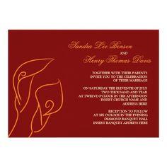 Red  Orange Calla Lilies Wedding Invitation  #timelesstreasure