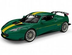 The Corgi Lotus Evora GT4, Lotus Sport, Green Livery is a diecast model vehicle in 1/43 scale in the Corgi Vanguard Collection.