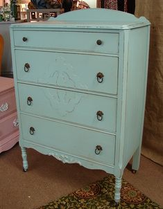 1940's Distressed Reclaimed Vintage 4 Dr Covington Blue Paint Dresser Chest Of Drawers. $329.00, via Etsy.