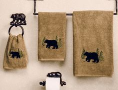 Shop for rustic bathroom accessories, rustic bath hardware and cabin bathroom decor at Black Forest Decor, your online source for moose and bear theme bath decor. Black Bear Decor, Black Forest Decor, Cabana, Diy Log Cabin, Log Cabins, Guest Cabin, Cabin Ideas, House Ideas, Lodge Bathroom