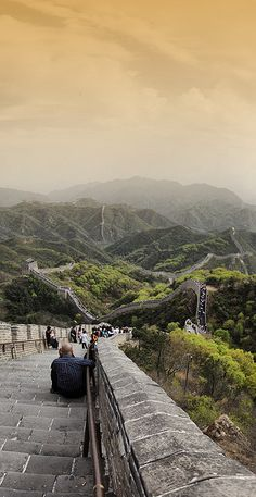 Great Wall, north of Beijing, China by Batistini Gaston