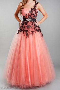 One shoulder ball gown with a belt and laced with a beautiful floral design - L1028