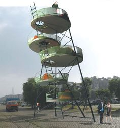 Stacked City Camping Structure for Portable Urban Shelter