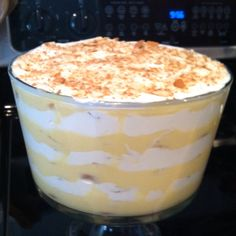 banana pudding trifle, semi-homemade with pudding mix, cream cheese, sweetened condensed milk, 5 bananas, and a box of nilla wafers.