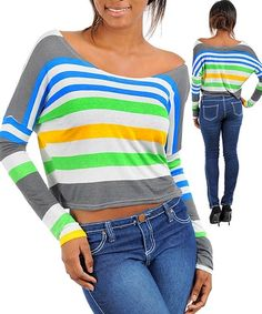 MULTI COLOR STRIPED BLUE CROP LONG SLEEVE TOP NWT... Only 3 left in stock
