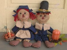 Thanksgiving Primitive Pilgrim Raggedy Ann by HomespunCreationsJDC
