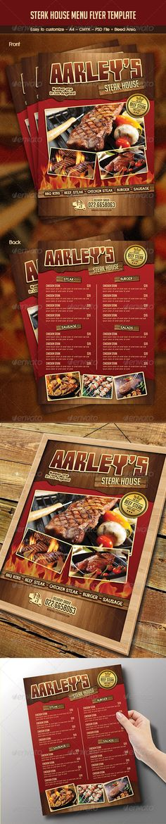 Steak Menu Flyer Template | Front Page Menu Research | Pinterest