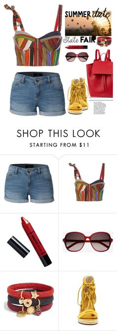 """""""Untitled #427"""" by jovana-p-com ❤ liked on Polyvore featuring LE3NO, Rosie Assoulin, Barry M, Yves Saint Laurent, Marc Jacobs, Vince Camuto, Mansur Gavriel, statefair and summerdate"""