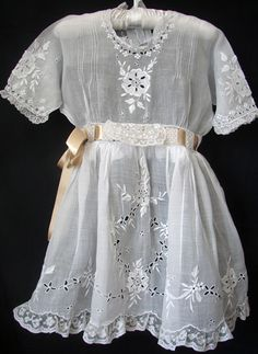 Maria Niforos - Fine Antique Lace, Linens & Textiles : Antique Christening Gowns & Children's Items # CI-62 Adorable Lawn Girls Dress w/ Embroidery