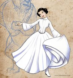 Belle and Beast as Leia and Chewbacca! P's pretty excited about disney/starwars, ha! Arte Disney, Disney Love, Disney Magic, Disney Pixar, Disney Belle, Disney Stuff, Starwars, Princesa Leia, Belle And Beast