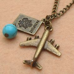 Plane Passport and Turquoise Necklace by turquoisecity on Etsy