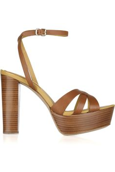 See By Chloé Wooden-heeled Leather Sandals in Brown | Lyst