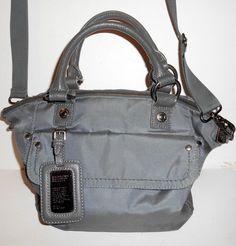 GEORGE GINA & LUCY Jen Brad BAG Satchel Crossbody Gray Nylon Leather Trim VGUC #GeorgeGinaLucy #SatchelCrossBody