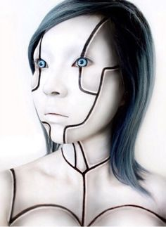 Excellent Robot Makeup Ideas For Amazing Halloween Party To Robot Makeup, Sfx Makeup, Cosplay Makeup, Makeup Art, Makeup Ideas, Face Off, Halloween Kostüm, Halloween Face Makeup, Horror Makeup