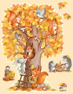 Империя Поздравлений - - Fall Arts And Crafts, Autumn Crafts, Fall Crafts For Kids, Art For Kids, Baby Zoo Animals, Autumn Illustration, Art Drawings For Kids, Fall Wallpaper, Cute Cartoon Wallpapers