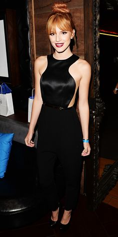 Bella Thorne  Thorne accessorized her playful black jumpsuit with a pair of classic black pumps.